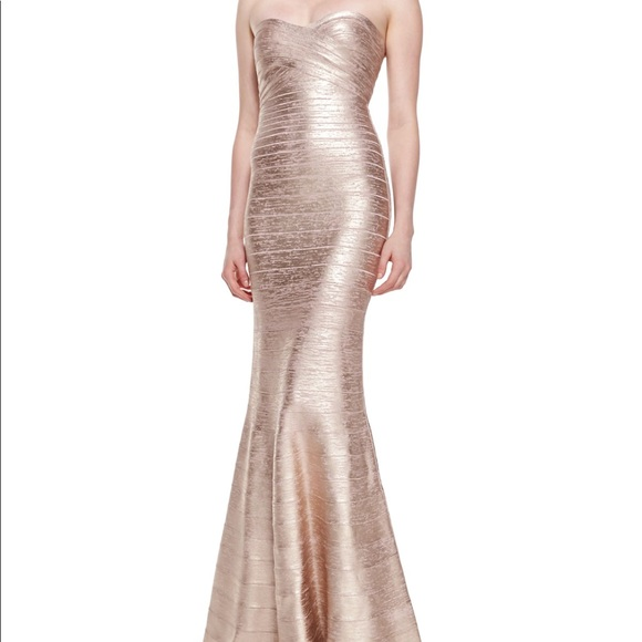 Herve Leger Dresses | Sara Metallic Bandage Rose Gold Gown 0 | Poshmark